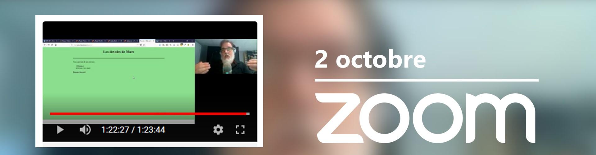 Rencontre du 2 octobre sur Zoom